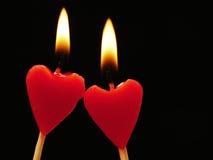 Velas del corazón Fotos de archivo libres de regalías