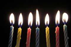 Velas del cumpleaños Fotos de archivo libres de regalías