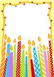 Velas del cumpleaños de tarjeta de la invitación Imagen de archivo libre de regalías