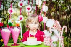 Velas del cumpleaños que soplan Imagen de archivo libre de regalías