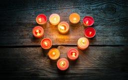 Velas del día de tarjeta del día de San Valentín del St Imagen de archivo libre de regalías