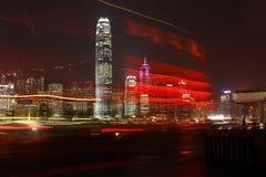 Velas del escarlata contra de la noche Hong-Kong Foto de archivo libre de regalías
