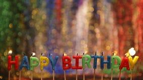 Velas del feliz cumpleaños almacen de video