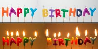 Velas del feliz cumpleaños Fotografía de archivo libre de regalías