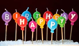 Velas del feliz cumpleaños Imagen de archivo