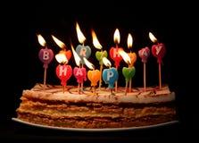 Velas del feliz cumpleaños Fotos de archivo
