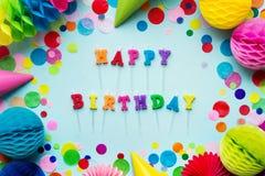 Velas del feliz cumpleaños imagen de archivo libre de regalías