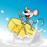 Velas del ratón en el queso de la balsa - vector Fotos de archivo