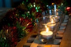 Velas del té del fondo de la Navidad Fotos de archivo