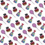Velas do bolo da cor com fundo dos chapéus e dos balões ilustração stock