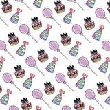 Velas do bolo da garatuja com fundo dos chapéus e dos balões ilustração do vetor