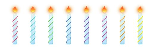 Velas do bolo de anivers?rio Grupo colorido de queimadura das velas ilustração royalty free