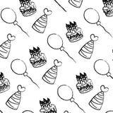 Velas do bolo do Grunge com fundo dos chapéus e dos balões ilustração do vetor