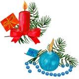 Velas do feriado de inverno do Natal e brinquedos do Natal em um estilo da aquarela isolados ilustração stock