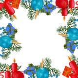Velas do feriado de inverno do Natal e brinquedos do Natal em um estilo da aquarela isolados ilustração do vetor