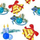 Velas do feriado de inverno do Natal e brinquedos do Natal em um estilo da aquarela isolados ilustração royalty free