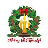 Velas do Natal na grinalda do pinheiro do Xmas ilustração do vetor