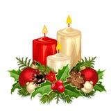 Velas do vermelho e do White Christmas Ilustração do vetor ilustração stock