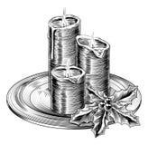 Velas e azevinho do Natal do vintage Imagem de Stock Royalty Free