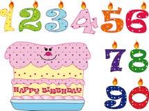 Velas e bolo para o aniversário Imagens de Stock