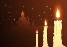 Velas e budista do templo com dia do vesak ilustração royalty free