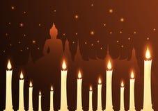 Velas e budista do templo com dia do vesak ilustração do vetor