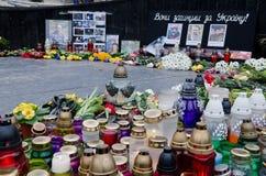 Velas em honra daqueles matados no Maidan dentro  Foto de Stock Royalty Free