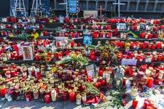 Velas em Kaiser Wilhelm Memorial Church em Berlim, Alemanha Foto de Stock Royalty Free