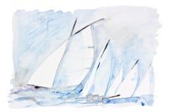 Velas en el mar stock de ilustración