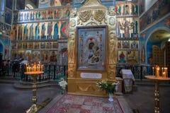 Velas en la catedral de Iversky Imagen de archivo libre de regalías