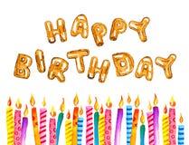 Velas estilizados do aniversário em seguido com feliz aniversario do título do balão Ilustração tirada mão do esboço da aquarela  ilustração stock