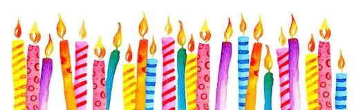 Velas estilizados do aniversário em seguido Ilustração tirada mão do esboço da aquarela dos desenhos animados ilustração do vetor