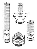Velas feitas da cera, feito a mão Velas de tamanhos diferentes com a textura dos favos de mel Um grupo de velas decorativas Patt  ilustração do vetor