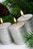 Velas festivas de plata Imagen de archivo