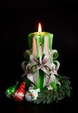 Velas hechas a mano de la Navidad Imágenes de archivo libres de regalías