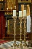 Velas na igreja católica romana da Holanda de Gendringen imagens de stock royalty free