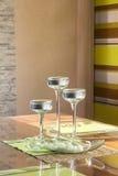 Velas nos suportes de vidro Fotografia de Stock