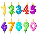 Velas numeradas coloreadas del cumpleaños libre illustration