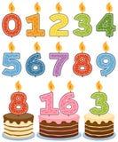 Velas numeradas del cumpleaños ilustración del vector