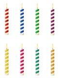 Velas para el ejemplo del vector de la torta de cumpleaños Fotos de archivo libres de regalías