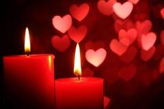 Velas para o dia do Valentim Fotos de Stock Royalty Free