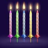Velas quemadas de la fiesta y de Navidad de cumpleaños ejemplo realista del vector 3D ilustración del vector