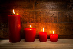 Velas rojas Fotos de archivo libres de regalías