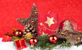 Velas rojas de Navidad Foto de archivo