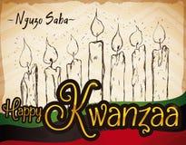 Velas tiradas mão com a bandeira para a celebração de Kwanzaa, ilustração do vetor ilustração royalty free