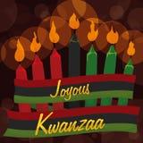 Velas tradicionais de Kwanzaa com fita e fundo de Bokeh, ilustração do vetor ilustração royalty free