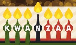 Velas tradicionais para a celebração de Kwanzaa no estilo liso, ilustração do vetor ilustração stock