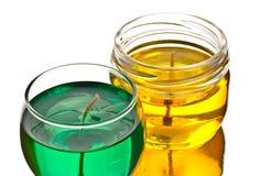 Velas verdes e amarelas do gel Imagens de Stock