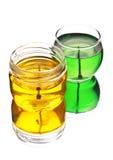 Velas verdes e amarelas do gel Imagens de Stock Royalty Free