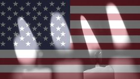 Velas y bandera americana almacen de metraje de vídeo